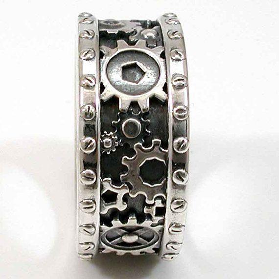 steampunk mens silver ring gears and rivets industrial steam punk handmade gear ring - Gear Wedding Ring