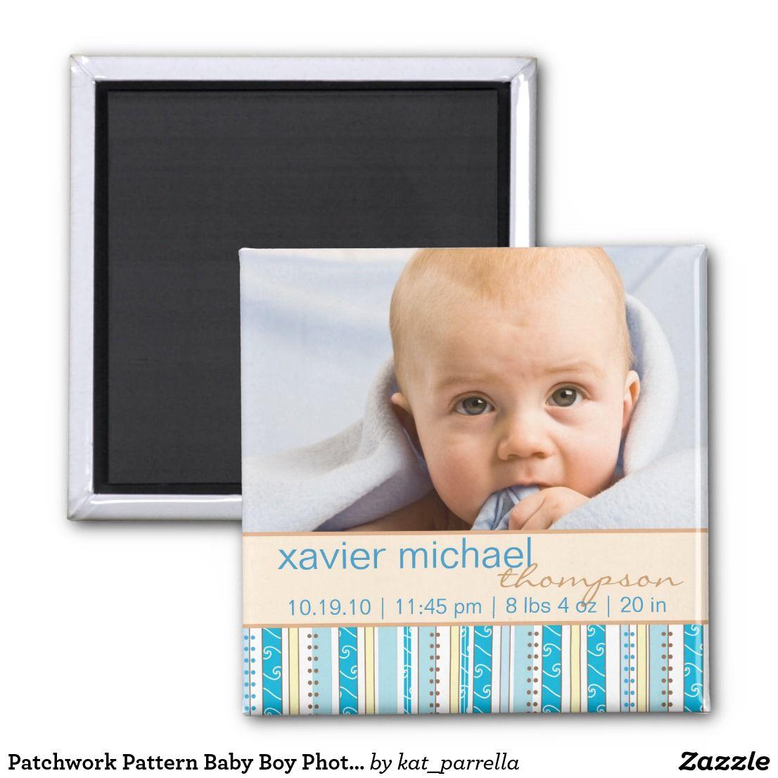 Aimant de photo de bébé de motif de patchwork | Zazzle.fr