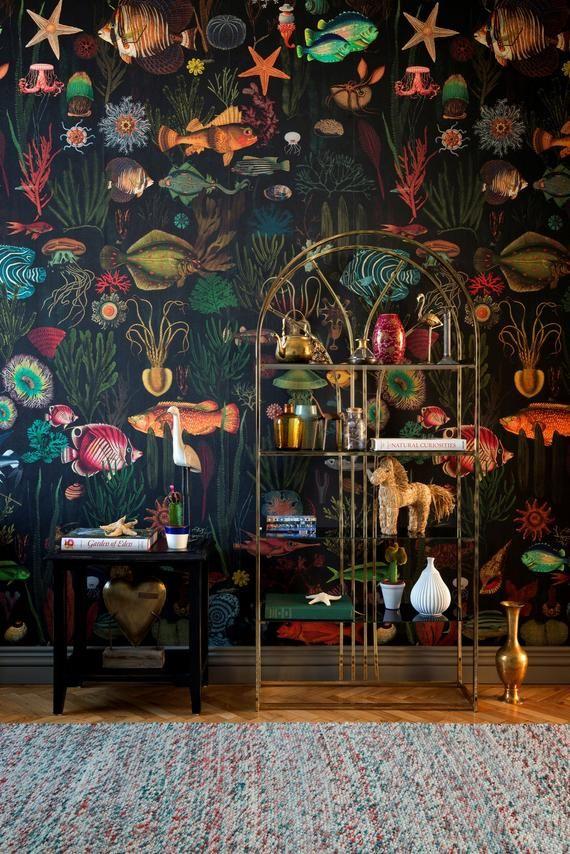Photo of Europäische Designer Tapete / Wandcovering Panel – Feature-Wand – Ozean Meer Leben Unterwasserwelt exotische tropische Fische schwarz grün