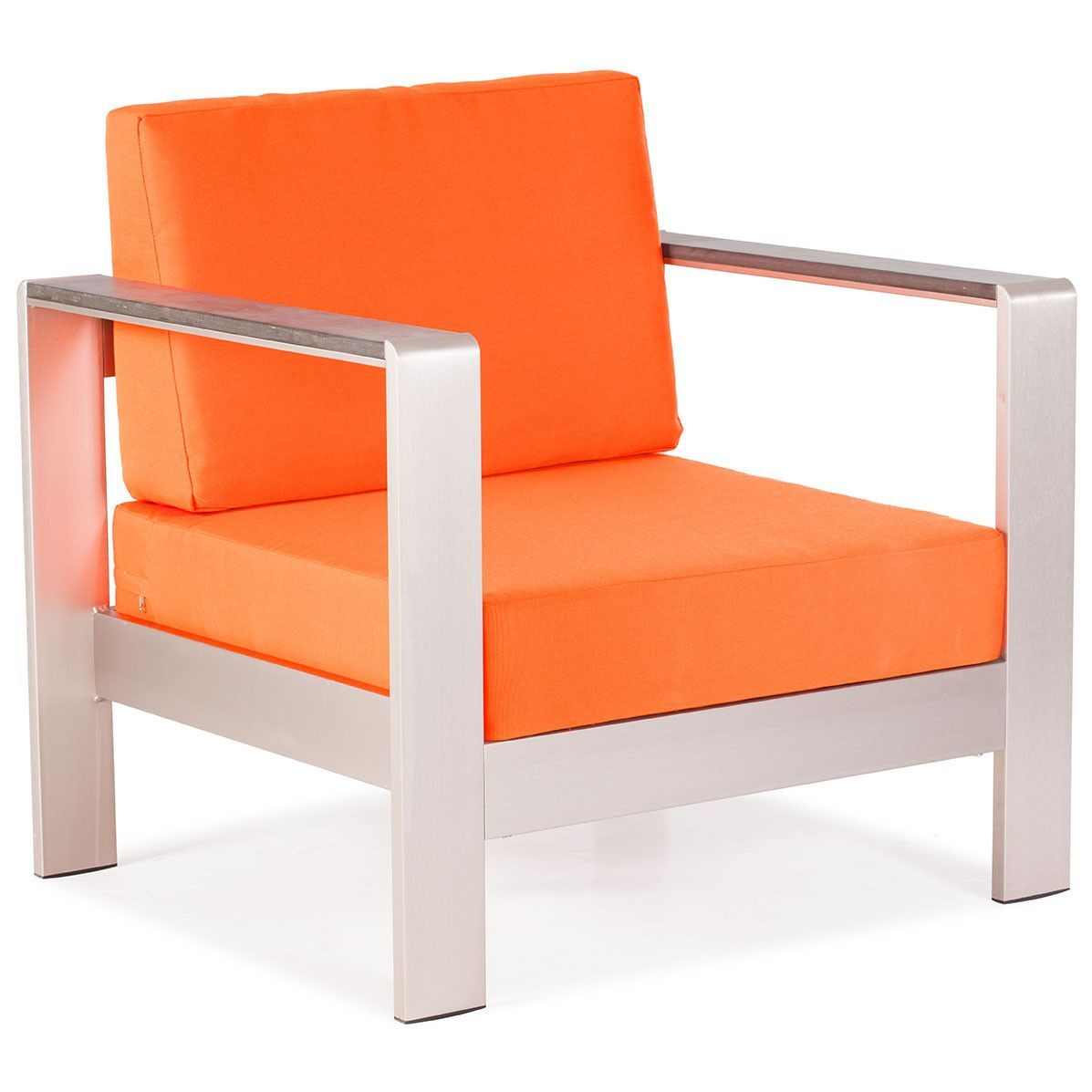 Mod Aluminum Outdoor Arm Chair U2014 Orange Cushions (Set Of 2)