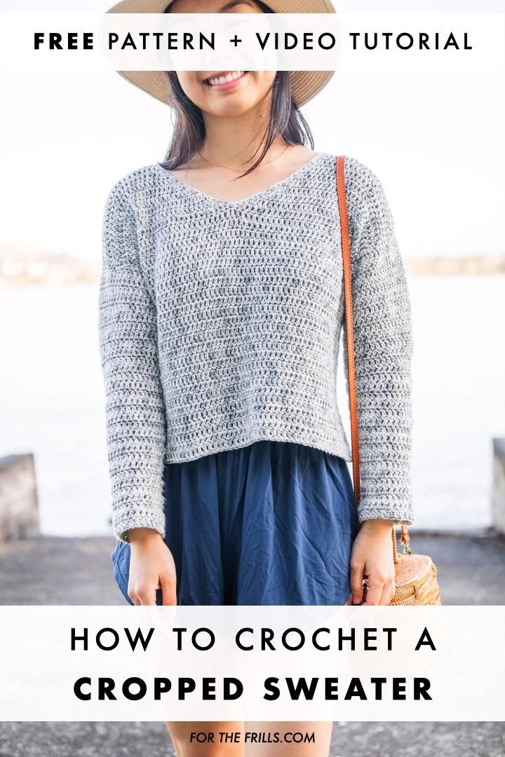 Cropped Summer Sweater – free crochet pattern + video tutorial for the frills