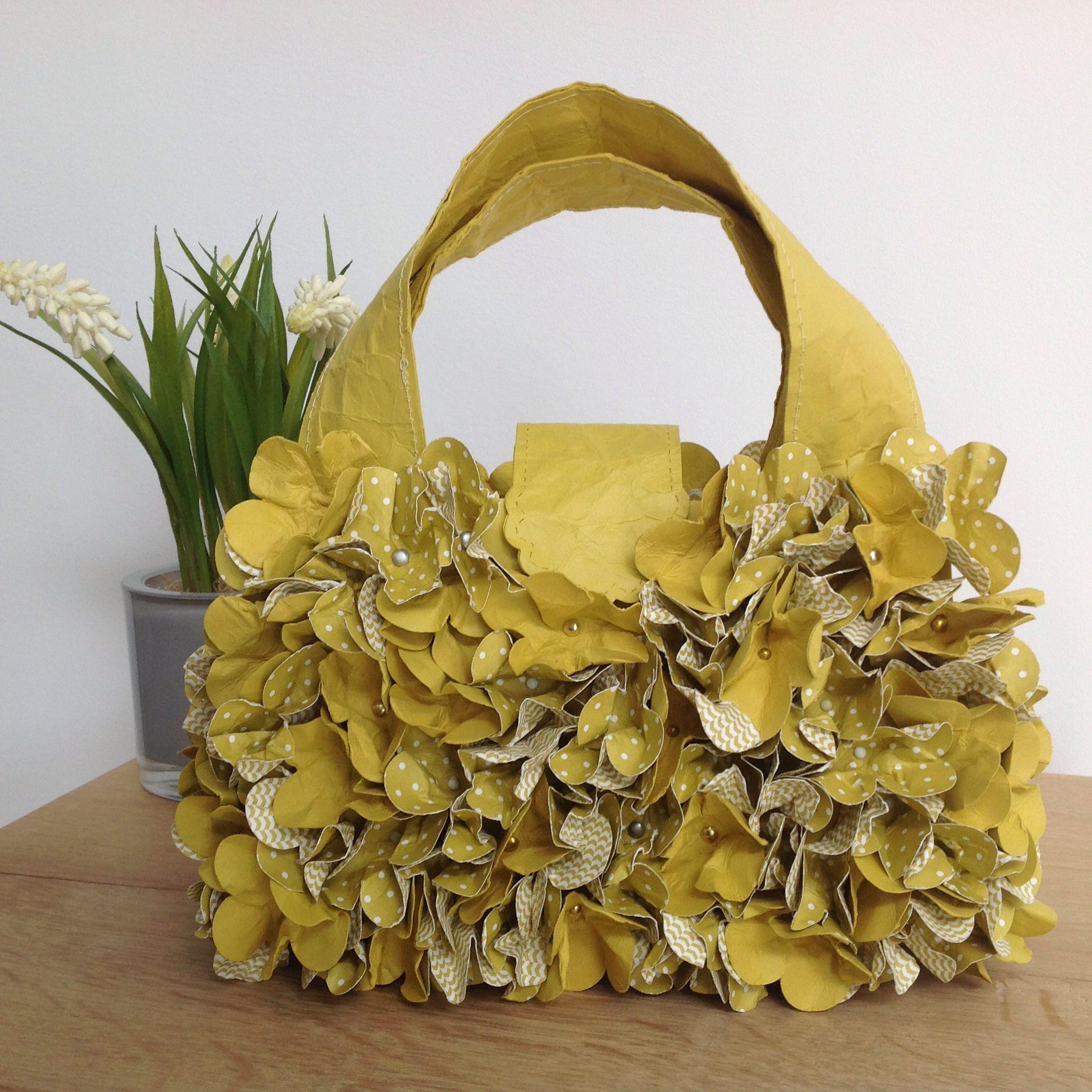 Papier Handtasche, Stampin Up Tasche, Papierblumen, Papierhandtasche, Blumen, Handtasche, Verpackung, Upcycling, SU Designpapier im Block,