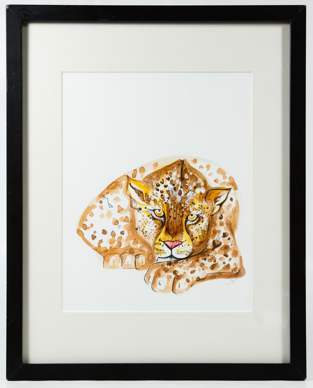 "Lot 226: Nathasa Rae (American, 20th Century) ""Jaguar"" Watercolor; Undated, signed lower right, depicting a jaguar; Atkinson Gallery label en verso"