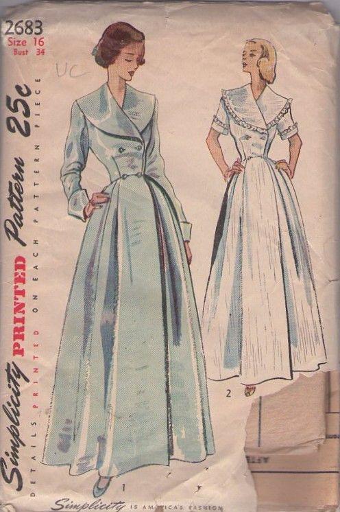 Pin By Jen Momspatterns On Vintage Sewing Patterns Clothing Vintage Dress Patterns Vintage Sewing Patterns Dressing Gown Pattern
