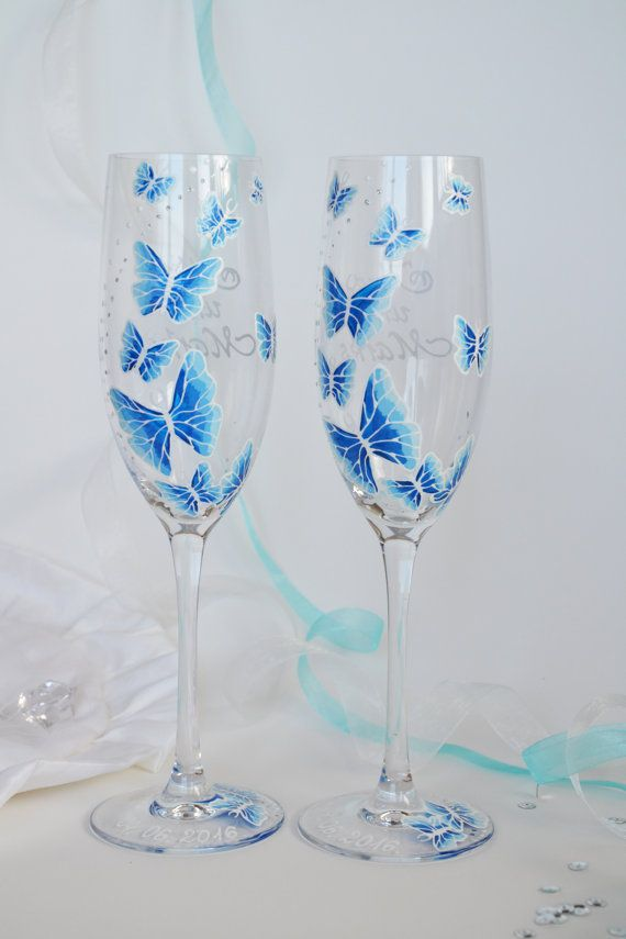 Hand painted wedding toasting flutes set of 2 personalized for Copas decoradas a mano