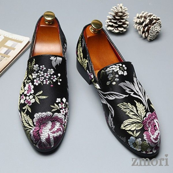 Black Satin Embroidered Purple Flowers Dapper Man Oxfords Loafers Dress Shoes Flats  Black Satin Embroidered Purple Flowers Dapper Man Oxfords Loafers Dress Shoes Flats