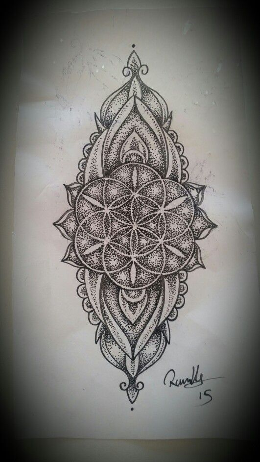 A seed of life long dotwork mandala designed for someone that didn't show