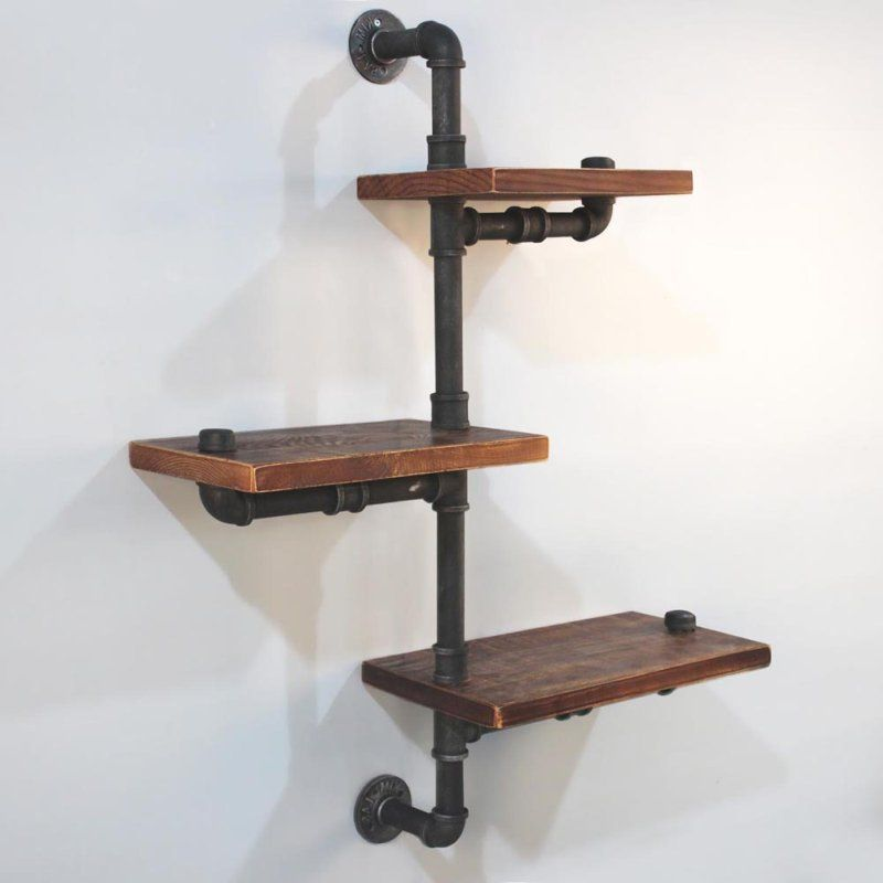 Alternate Level Rustic Industrial Pipe Wall Shelves | Buy Furniture