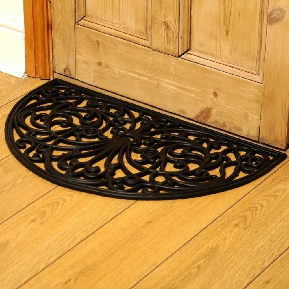 Wrought Iron Style Rubber Half Moon Door Mat Wrought Iron Style | Half Moon Carpet For Stairs | True Bullnose | Stair Tread | Stain | Stair Nosing | Runner Rugs