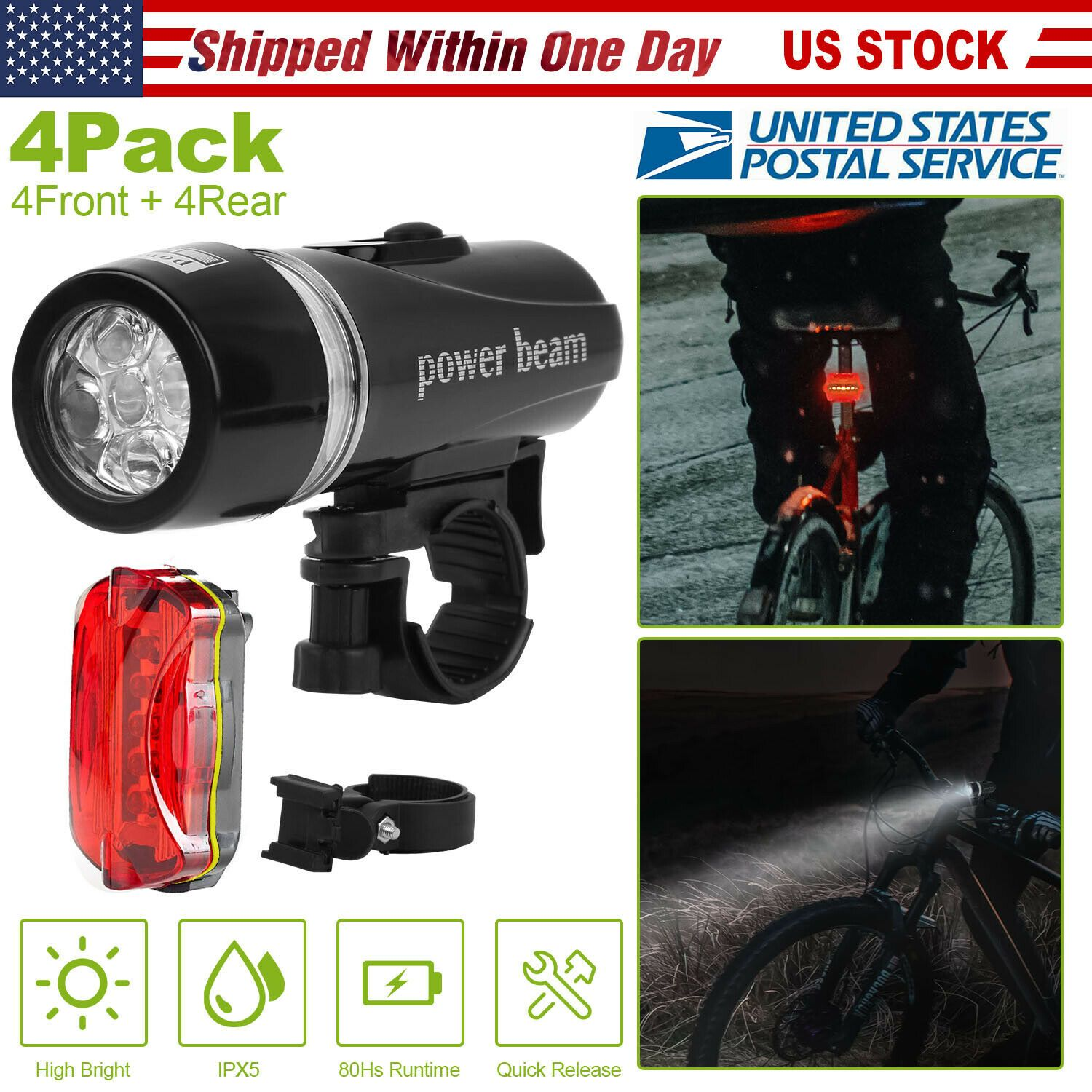 Rear Safety Flashlight Bike Bicycle Light Waterproof Lamp Front 5LED Head Light