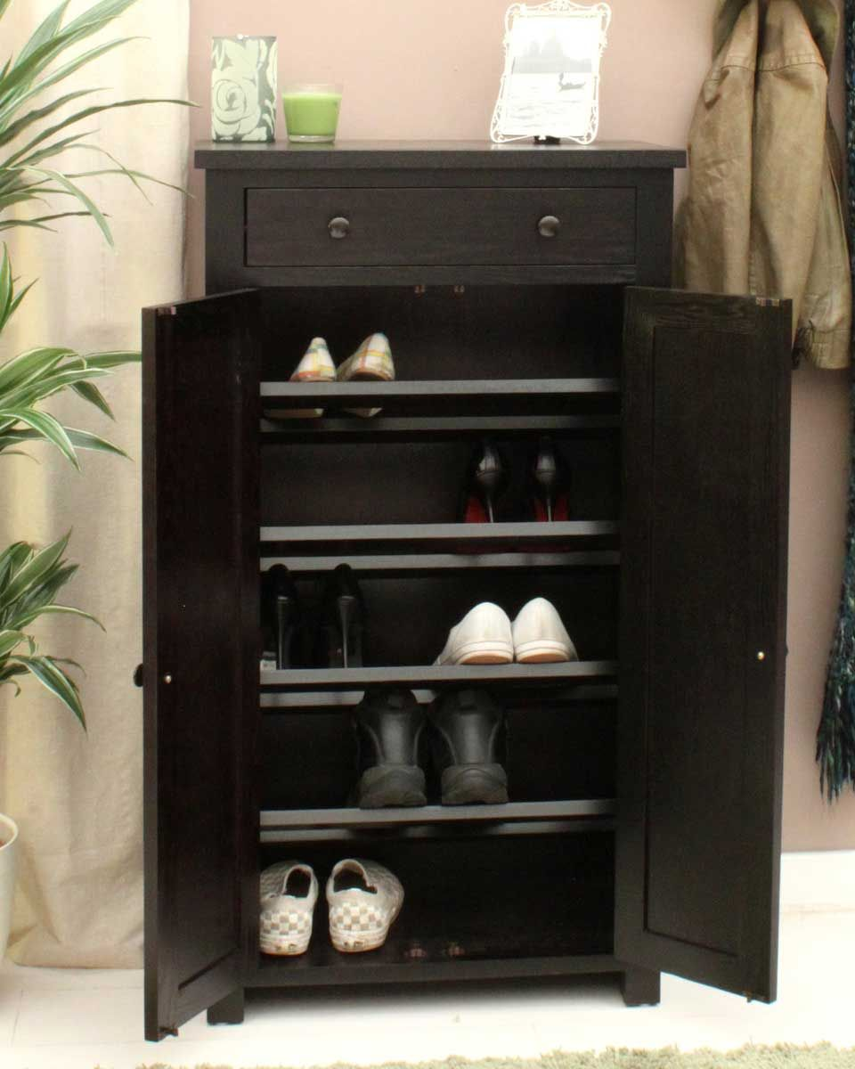 Dark Wood Shoe Cupboard Keeping your shoes organised has never been easier with this stylish shoe & Dark Wood Shoe Cupboard Keeping your shoes organised has never been ...