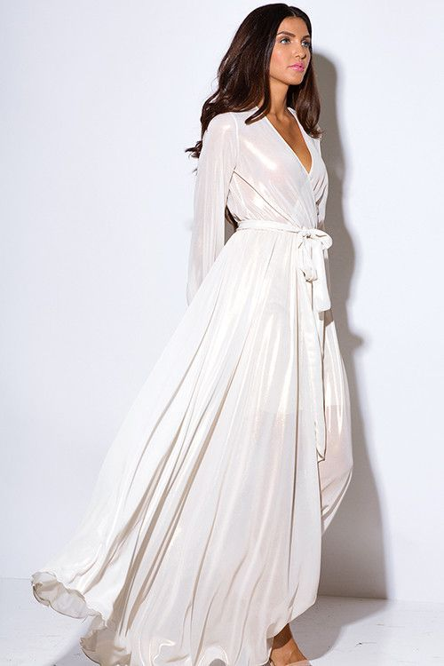 Metallic Chiffon Blouson Faux Wrap Gown in Ivory or Red