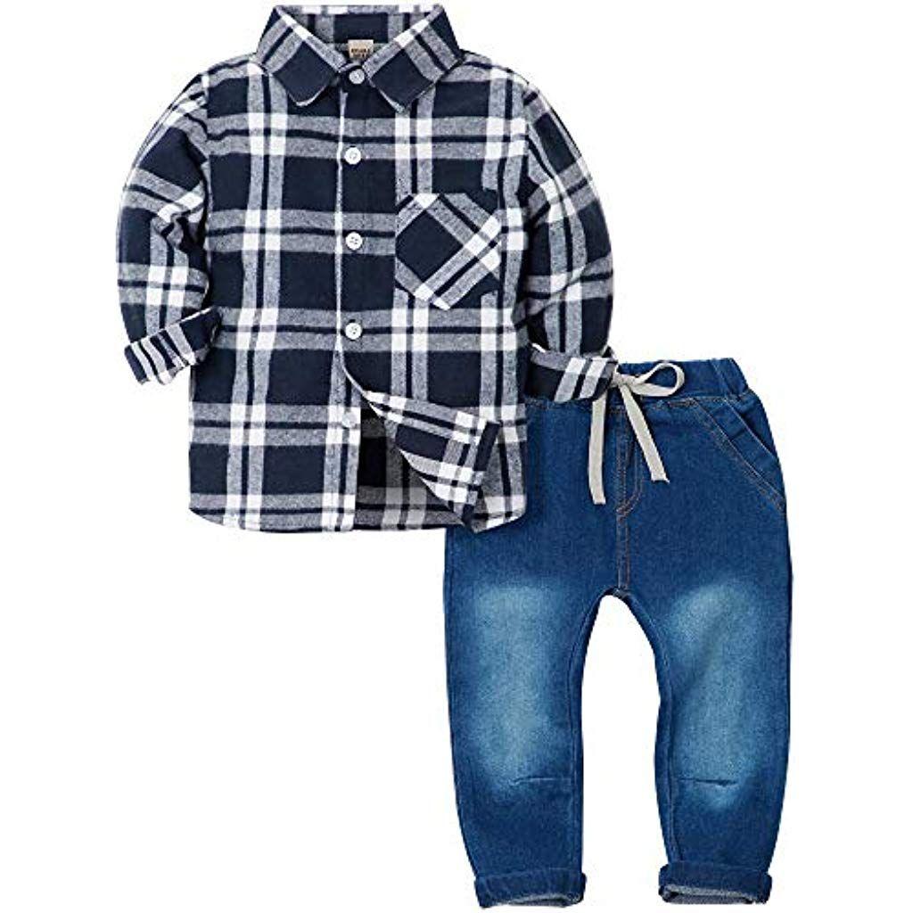 448eec78c0e5e ZOEREA 2 Pièces Vêtements Ensemble de Bébé Garçon Manches Longue Carreaux  Chemise Bleu Jeans Pantalon Costume
