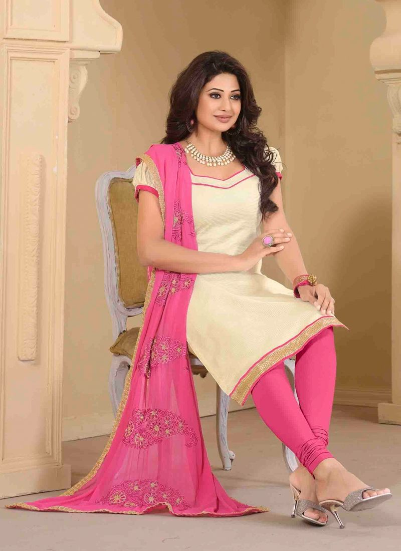 e91c55935 Glorious Jute Silk Cream Churidar Designer Suit