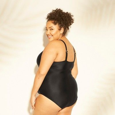 df21a02094220 Women s Plus Size Mesh Cut Out One Piece Swimsuit - Kona Sol Black ...