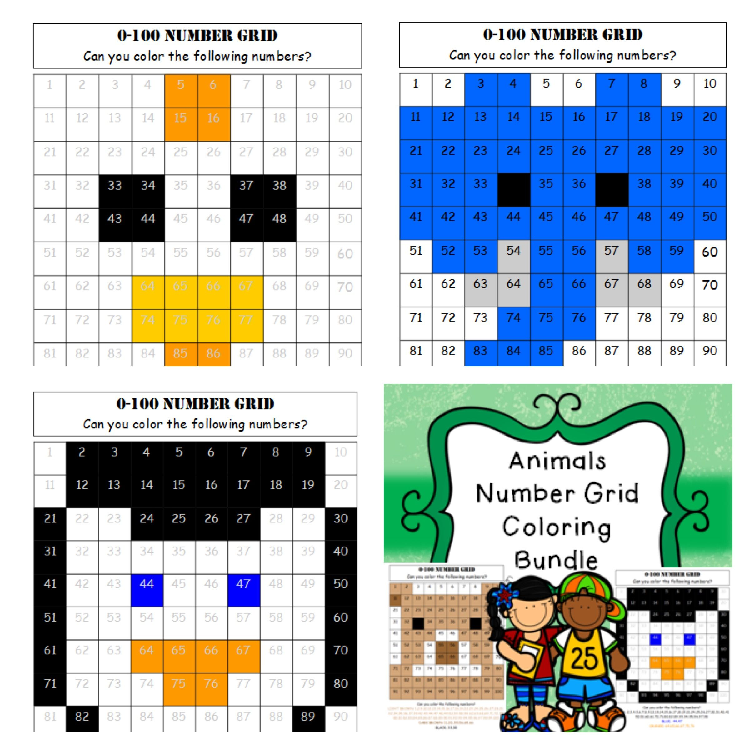 Free grid coloring worksheets - Number Grid Coloring By Number Animals This Product Contains 11