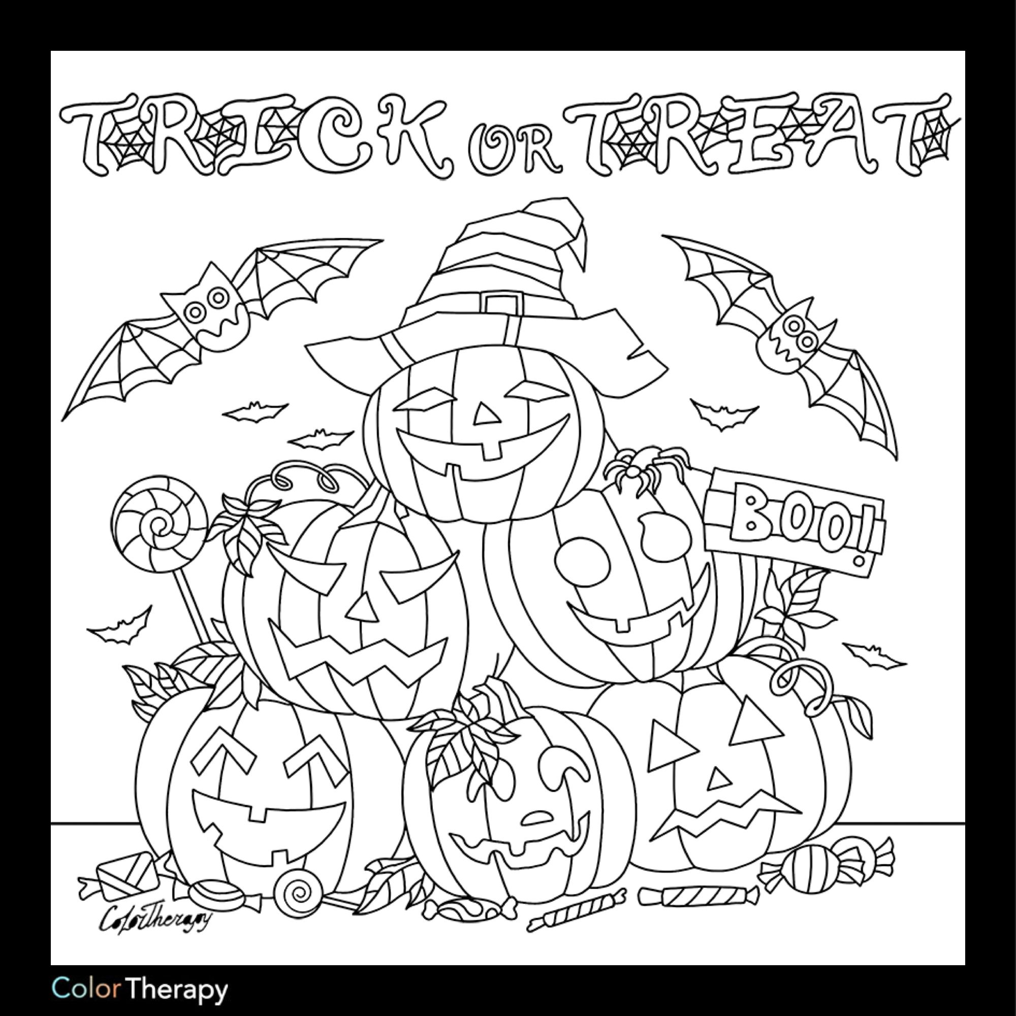 I Colored This Myself Using Color Therapy App It Was So Fun And Relaxing And It S Free Halloween Coloring Pages Halloween Coloring Coloring Pages