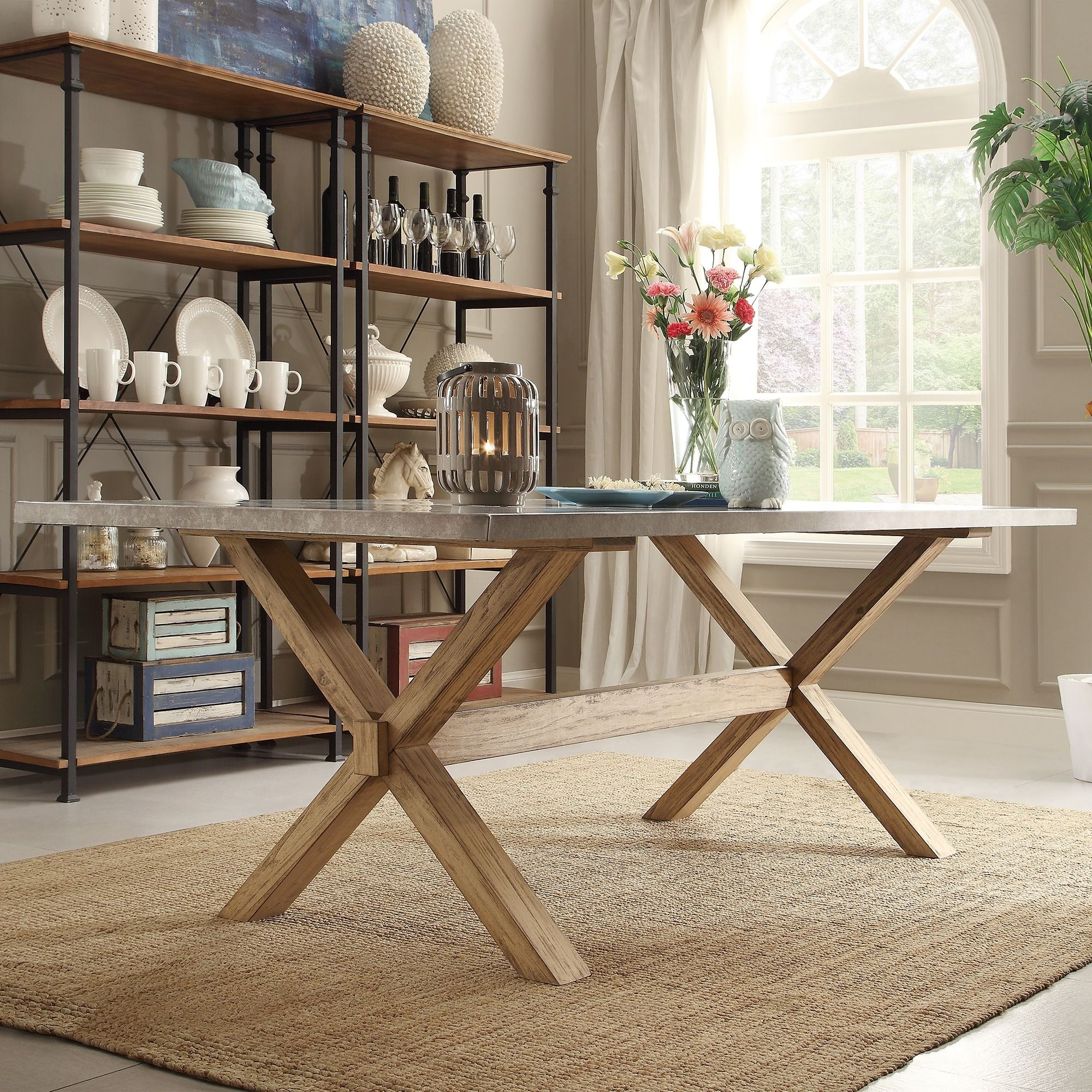 INSPIRE Q Aberdeen Industrial Zinc Top Weathered Oak Trestle Dining Table