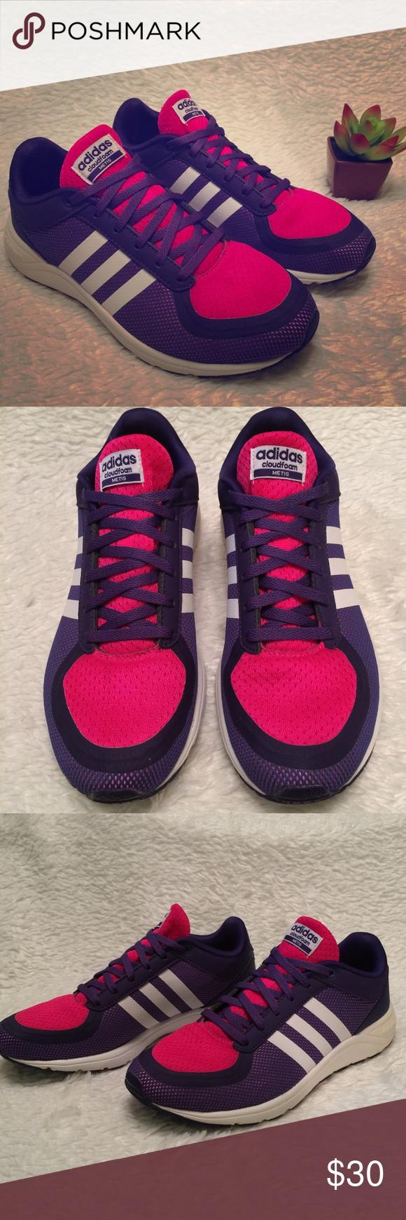 Adidas neo cloudfoam meti sz 7 viola / rosa pinterest adidas