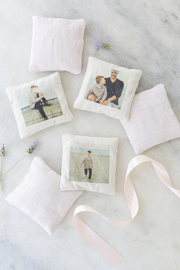 DIY Charming Lavender Sachets to keep moths away and freshen your clothes! They make great Mother's Day gifts when you personalize them with photos!