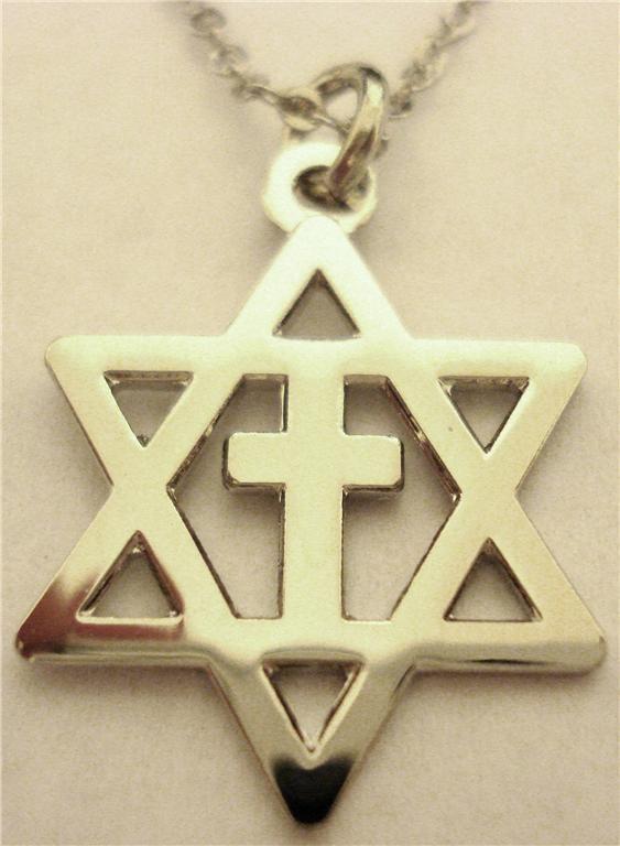 Religious Vintage Men Black Star of David Pendant Necklace Israel Jewish Jewelry