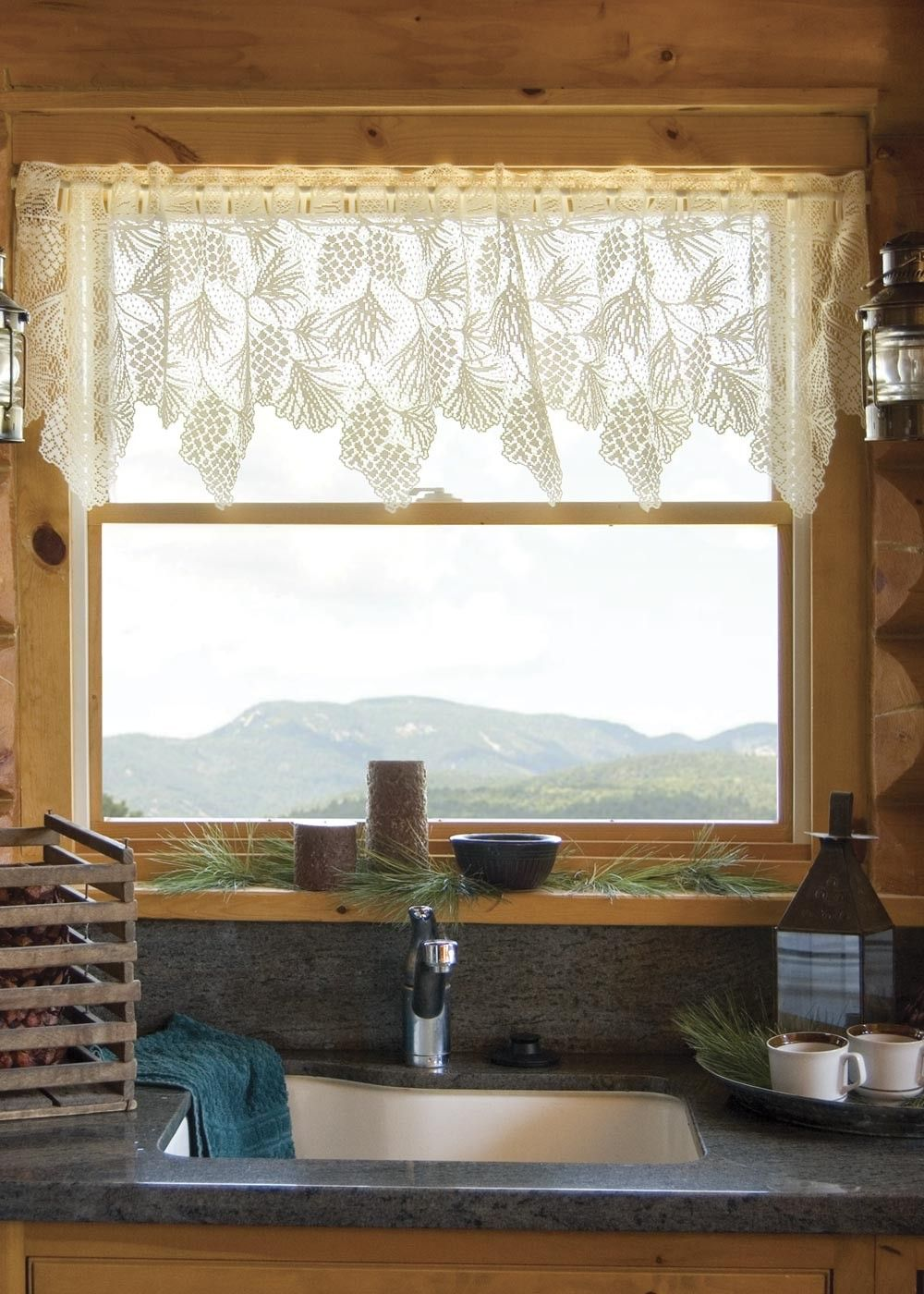 Woodland lace valance curtain by heritage lace | Log home kitchen ...