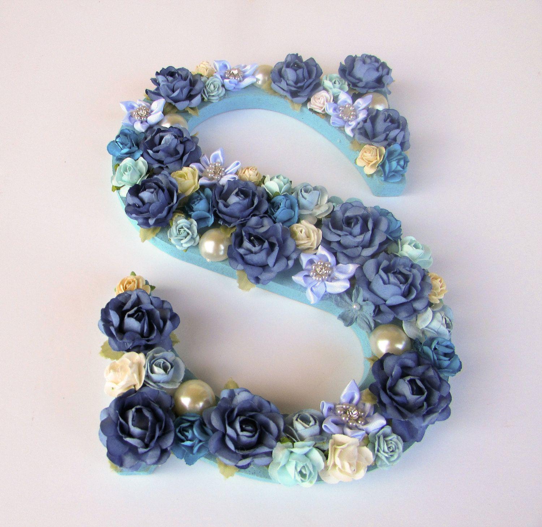 Letter S Wall Decor Custom Name Letter Floral Name Letter Blue Flower Letter