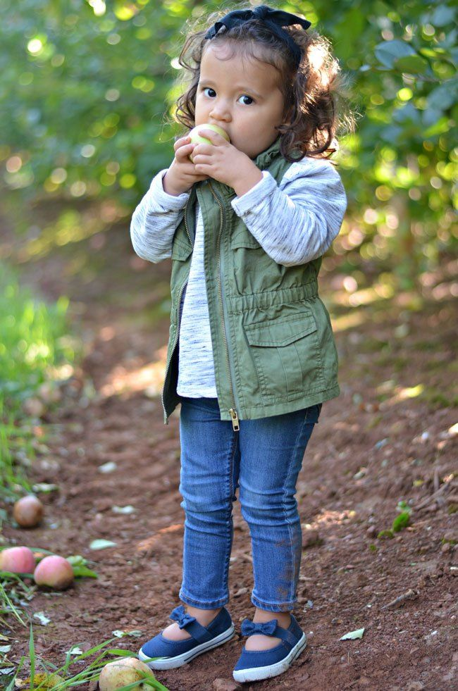What to Wear Apple Picking | Toddler girl fall Girls fall outfits and Utility vest