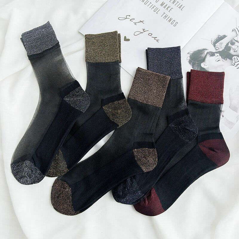 5Pairs Women Silk Anti-Slip Cotton Sole Sheer Ankle Low Tights Solid Nylon Socks