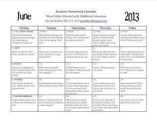My newest speech blog post: Summer 2013 homework calendars. In English and Spanish this year!