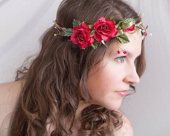 Red Flower Wedding Crown With Pearl Bridal Red Flower Halo
