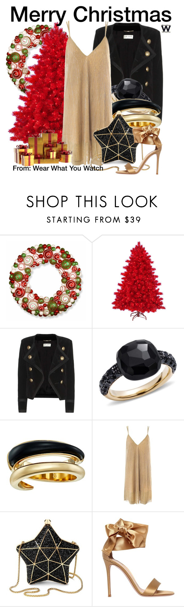 """Merry Christmas"" by wearwhatyouwatch ❤ liked on Polyvore featuring National Tree Company, Yves Saint Laurent, Pomellato, Michael Kors, Sans Souci, Aspinal of London and Gianvito Rossi"