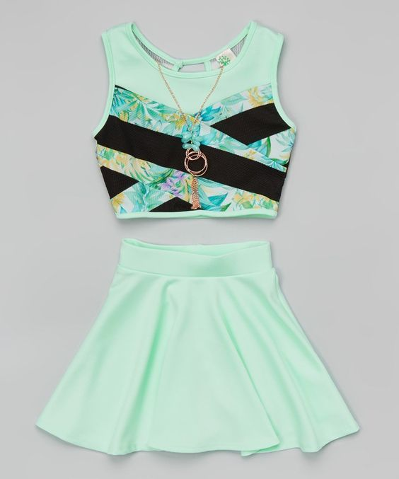 94c8d386e397 Amazon.com: Just Kids Crop Top With Necklace And Skater Skirt Set For Girl