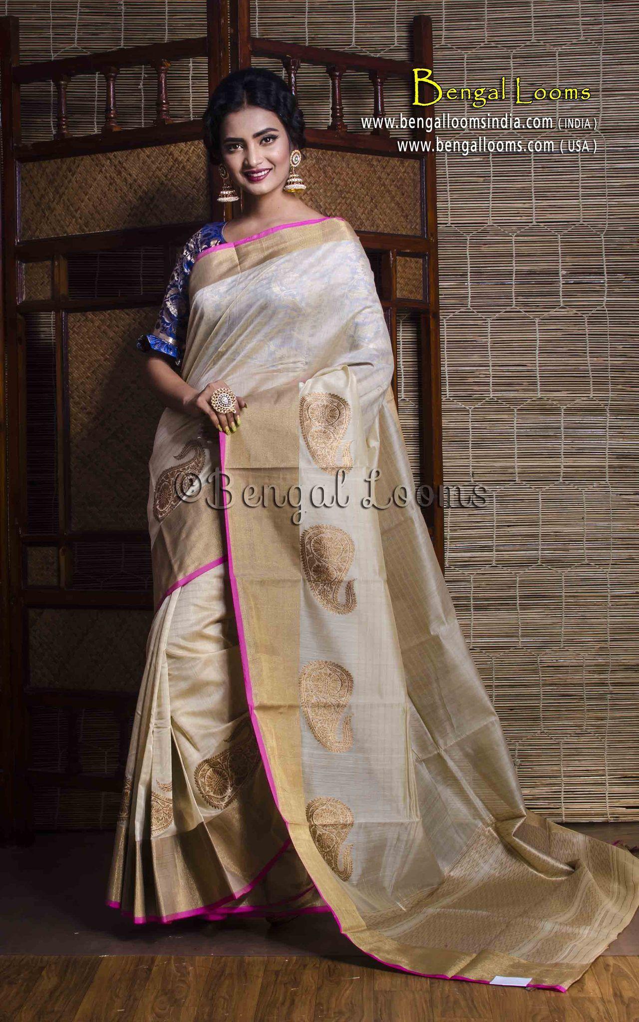 ca71e28b36d967 Chanderi Cotton Silk Banarasi Saree in Off White and Gold