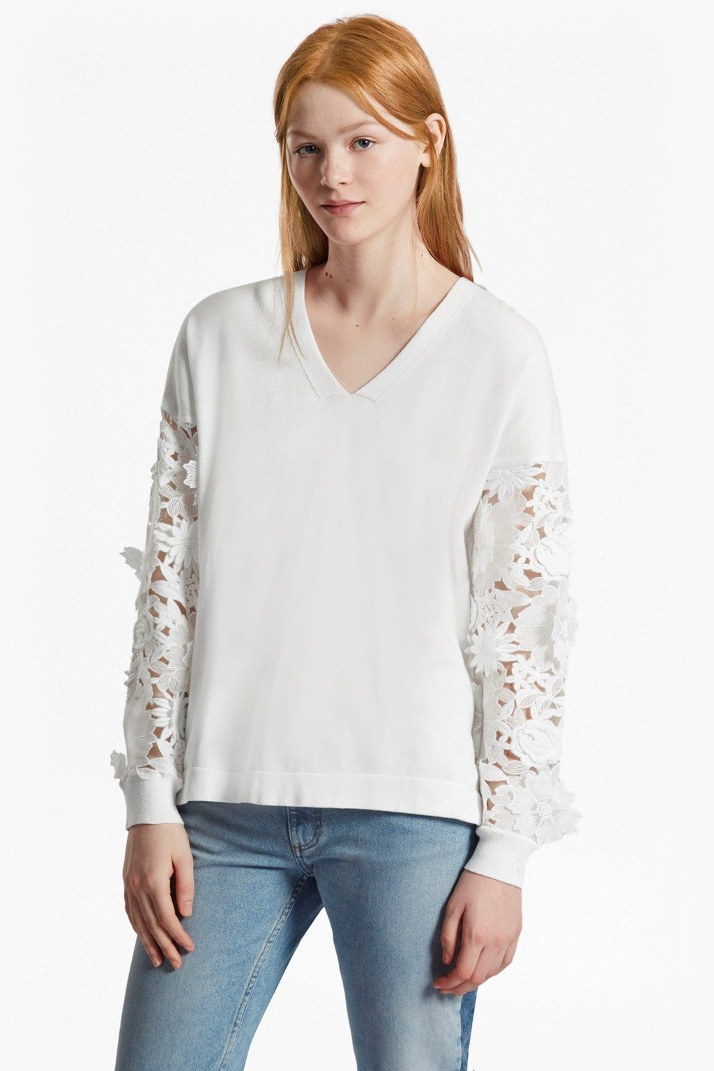 ee4d6a72d18bd Manzoni 3D Floral Lace Sleeved Jumper | Sale | French Connection Usa French  Connection Women's Sale