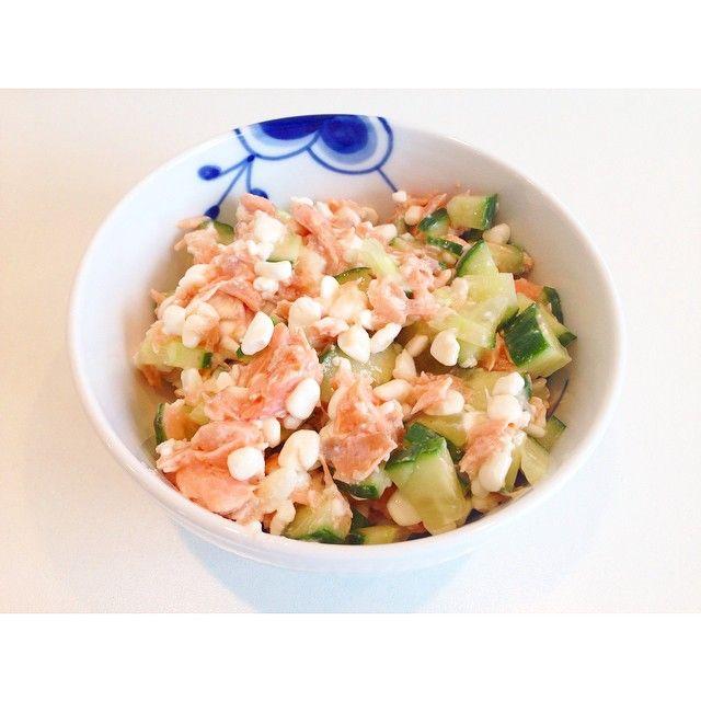 Lakse/hytteost salat med agurk  #elskeralleslagsfisk