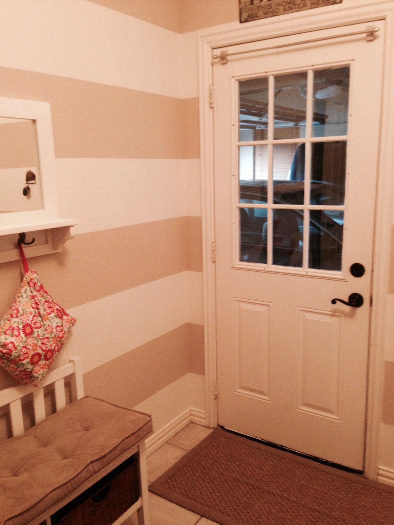 Horizontal Stripes Laundry Room Wall Sherwin Williams Creamy White and Kilim Beige--thank you, honey!