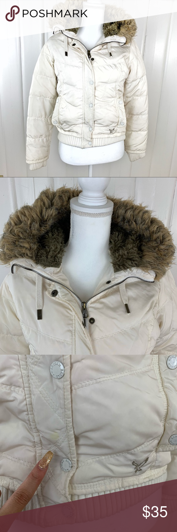 American Eagle Off White Puffer Jacket Sz S American Eagle Jacket American Eagle Jackets [ 1740 x 580 Pixel ]