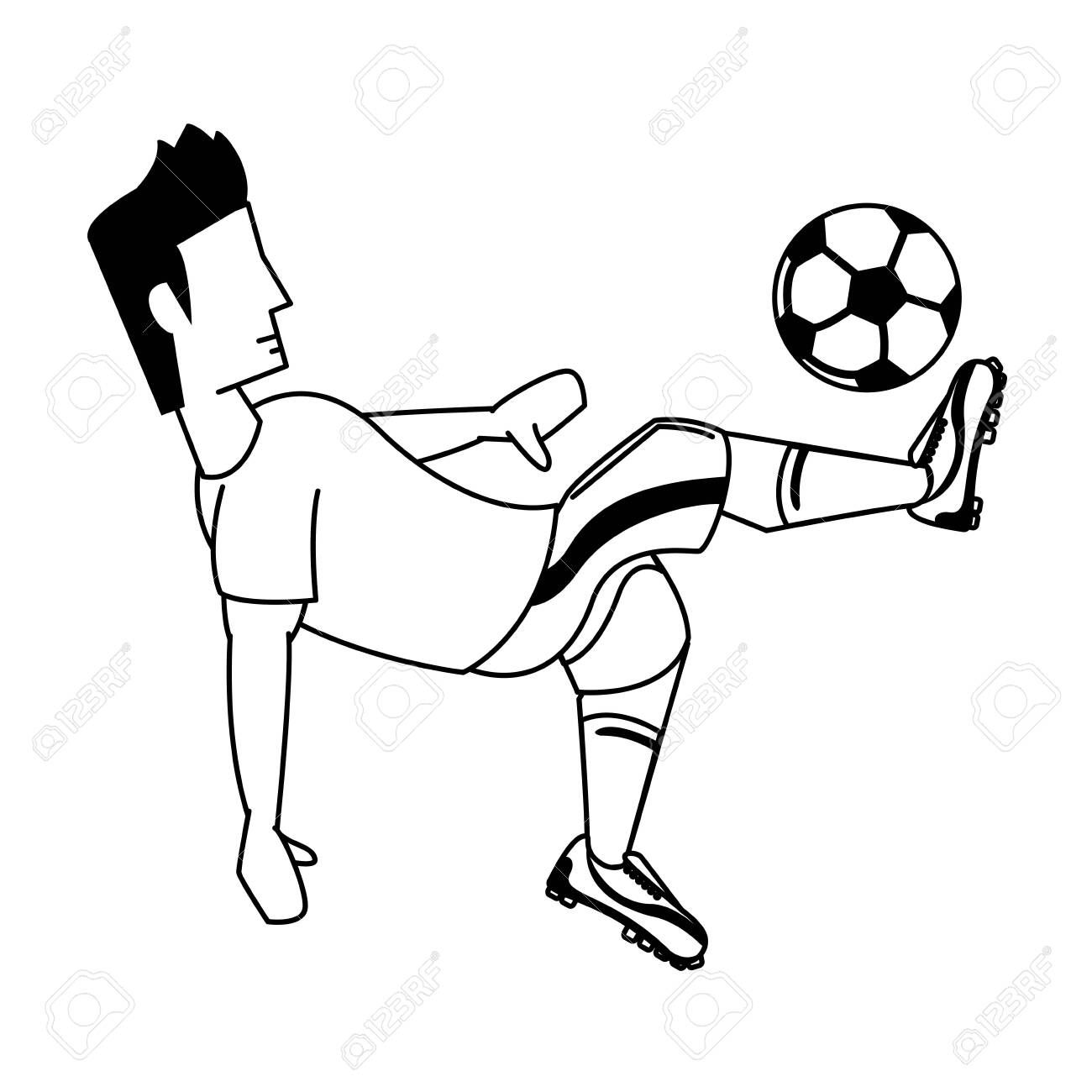 Soccer Player Kicking Ball Cartoon Isolated Vector Illustration Graphic Design Ill Social Media Design Graphics Graphic Design Illustration Illustration Design