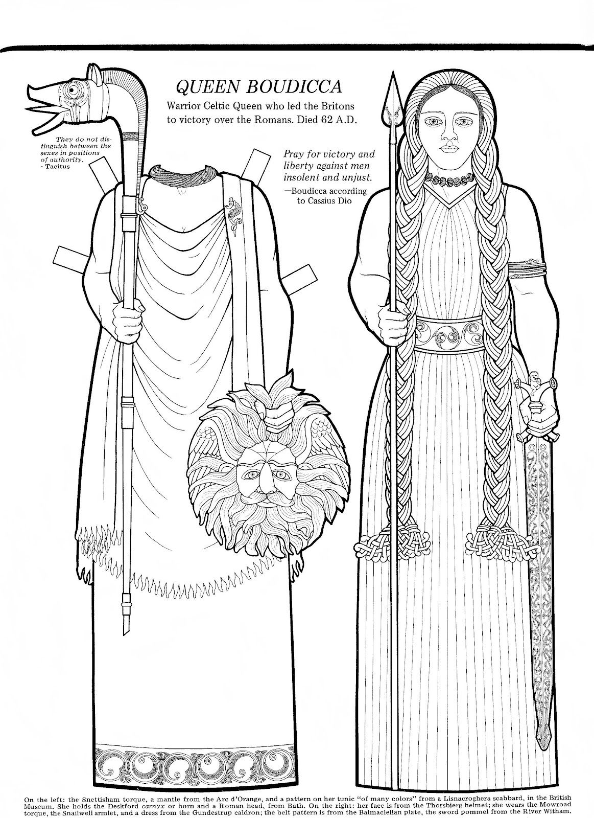 Mostly Paper Dolls Queen Boudicca Paper Doll