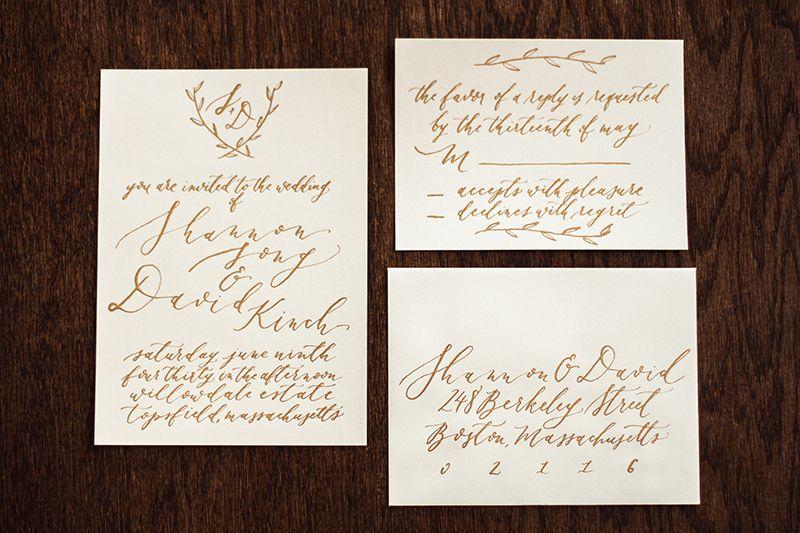 Handwritten Calligraphy On Wedding Invitation At Willowdale Estate In Topsfield Machusetts Www Willowdaleestate
