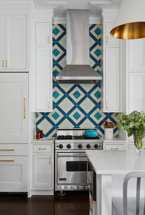 Blue Diamond Pattern Backsplash Tiles #kitchenideas | Kitchen Ideas ...