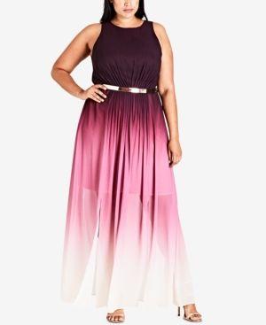 City Chic Trendy Plus Size Ombre Maxi Dress - Black 18W   Ombre ...