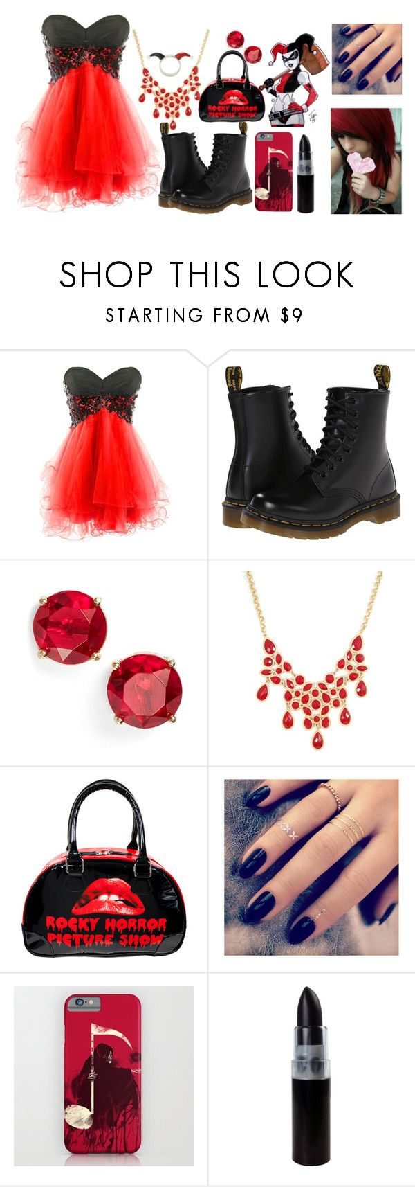 """Harley Quinn (prom)"" by trvdie ❤ liked on Polyvore featuring Dr. Martens, Anne Klein, Rock Rebel, Lottie, women's clothing, women, female, woman, misses and juniors"