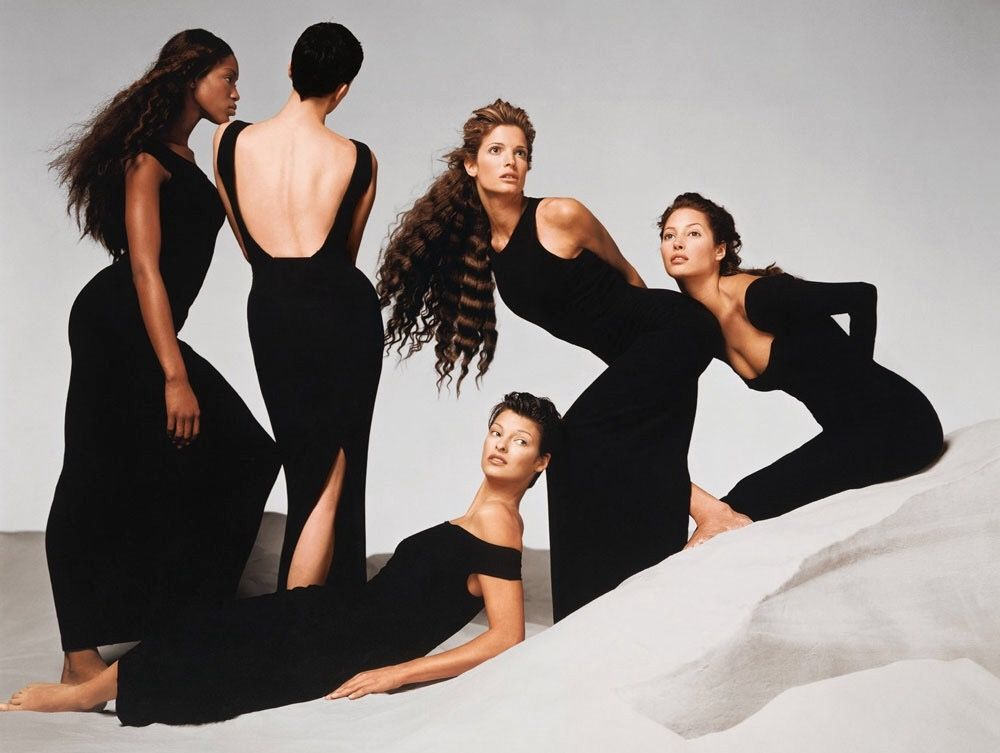 Naomi Campbell, Kristen McMenamy, Linda Evangelista, Stephanie Seymour, & Christy Turlington Burns in GIANNI VERSACE