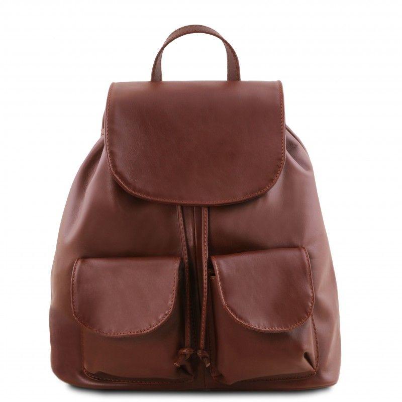 d33d6d827af Italiaanse Cognac Leren rugzak Kathmandu - TL141202.Het buitenmateriaal van  deze tas is echt kalfsleer 'Sauvage'. Deze rugtas heef…