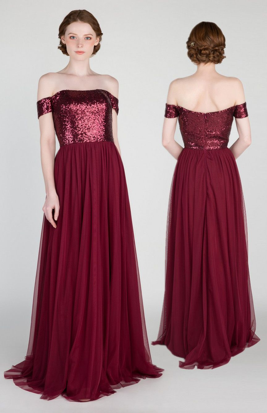 Sequins Burgundy Bridesmaid Dresses For 2018 Bridalparty Wedding Bridesmaiddresses Burgundywedding