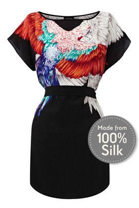 Bird Placement Silk Tunic