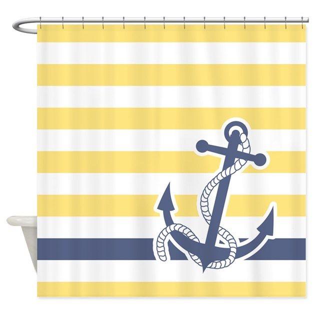 Nautical Anchor Stripe Light Yellow Shower Curtain By Pinkinkart