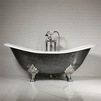 The Sibton68 68 Cast Iron Double Slipper Clawfoot Tub With A